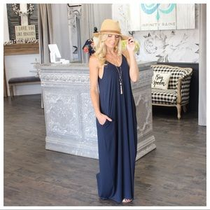 ✨PLUS AVAILABLE ✨Navy Cami Maxi Dress